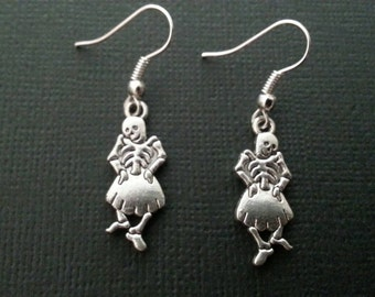Silver Mexican Day Of The Dead Lady Earrings