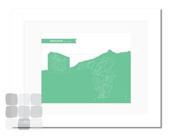 Revelstoke Ski Trail Map - 8x10 - Modern Art Print