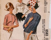 """Blouse in Three Versions Pattern, 1962 Vintage Sewing Pattern, McCall's 6583 Easy Rule Dressmaker Tested, Bust 34""""(86.4cm), Free US Shipping"""