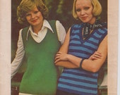 """Misses' Knitted Pullover Top Pattern, Simplicity 6317 Vintage 1970s Craft Pattern, Bust 31 1/2"""" - 40"""" (80 - 102cm), Free US Shipping"""