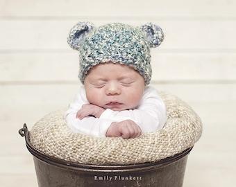 Soft Crochet Bear Hat, photography prop,0 to 3 months, crochet hat, bear hat