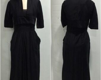1940s Black Cotton Two Piece Suit