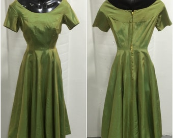 1940s Shot Taffeta Party Dress