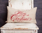 """Merry Christmas Pillow Cover, 12x16"""" or 12x20"""", choice of natural linen, cream twill, and red suede"""