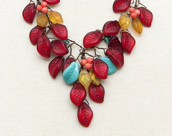 Turquoise Yellow Red Beaded Necklace, Red Leaf Necklace, Red Bib Necklace, Nature Jewelry, Whimsical Necklace.