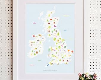 Map of British Isles Food Produce Print