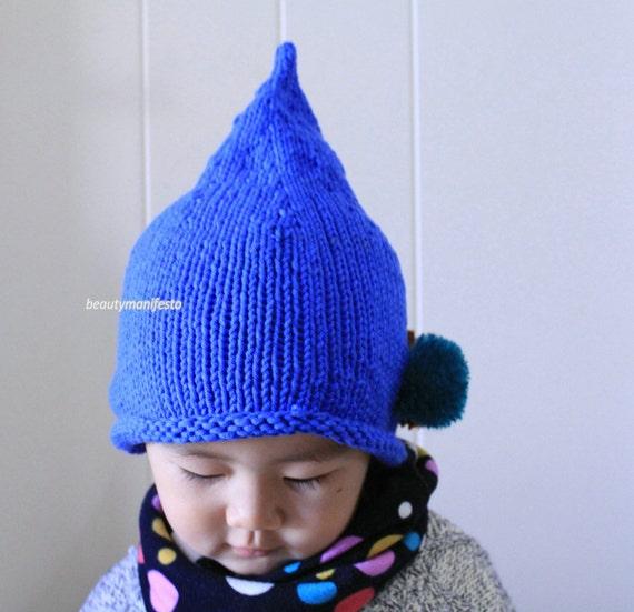 Pixie Hat Elf Hat Pointy Hatblue Crochet by beautymanifesto