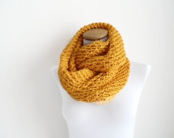 Yellow Cowl, Chunky scarf,  soft and flexible cowl,  Neckwarmer, scarf, infinity...