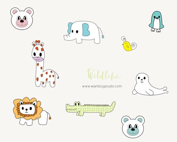 Cute Animals Clipart - Clip art - Digital Clipart - Scrapbooking - Scrapbook Supplies - Craft Supplies - Digital Images - PNG