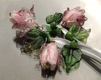 Lampwork Glass Flower Beads for Jewelry Making, A Romantic Bouquet, Set of Pink Roses and Green Leaves, Made to Order !