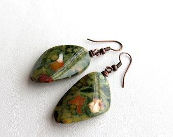 Copper and rhyolite jasper earrings