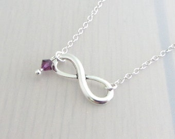 Infinity Charm Necklace, Personalised Birthstone Crystal Necklace, Eternity Necklace, Custom Silver Plated Necklace, Valentines Gift