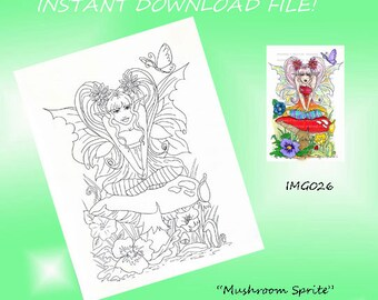 IMG026 INSTANT DOWNLOAD digital stamp digi Fairy printable art coloring page fantasy by Ronne Barton