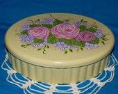 Hand Painted Wood Jewelry Box Wooden Shabby Chic Box Jewellery Keepsake Organizer Victorian Pink Roses Purple Hydrangea Anniversary Gift