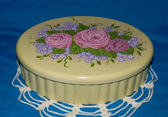 Hand Painted Wood Jewelry Box Wooden Shabby Chic Box Jewellery Keepsake Organizer Victorian Pink Roses Purple Hydrangea Anniversary Gift