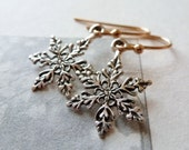 Snowflake Earrings / Sterling Silver / 14K Gold Fill / SimplyJoli / Silver & Gold / Winter Snow Nature / Sweet Petite Dangle Earrings
