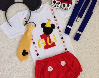 2-pc set Personalised Mickey mouse Inspired Birthday suspenders outfit -personalised top and bottom set