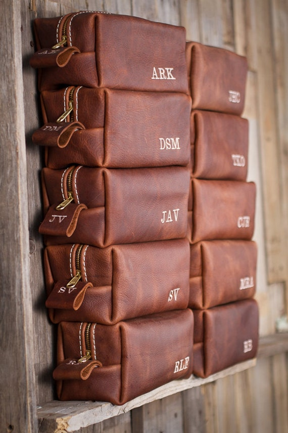 Wedding Gift Ideas For Men: HANDMADE Men's Leather Toiletry Case Dopp Kit Shaving Bag