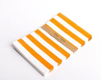 20 Orange Horizontal Striped Bitty Bags 5x7.5/ paper bags/ party bags/ treat bags