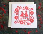 Love Bunnies Letterpress Greetings Card for  Valentines - Wedding - Engagement - Anniversary