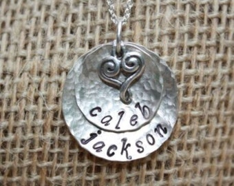 Custom made 2 layered sterling silver pendant with swirly heart.