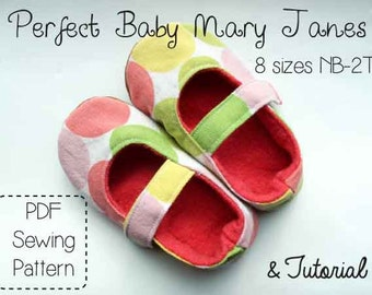 Perfect Baby Mary Janes PDF Sewing Pattern Tutorial Sizes NB-2T
