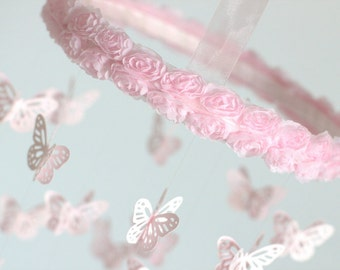 Small Pink Butterfly Mobile with Rose Ribbon Hoop- Nursery Decor, Baby Shower Gift, Nursery Mobile