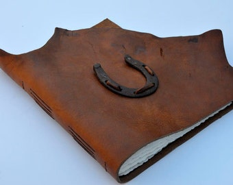 "HORSE LOVER'S Handmade Leather Journal 9 1/2"" x 9 1/2"" - 140 lb watercolor paper - Sketchbook"