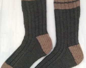 Hand Knit Mens or Womens Machine Wash & Dry 100% Wool Heavy Boot, Hiking, Skiing, Snowboarding Socks (B-042)