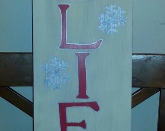 "Large ""BELIEVE"" Winter primitive Christmas wood sign"