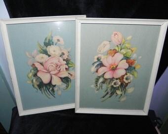 Vintage framed Botanical prints Set of 2