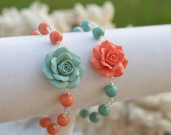 Dusty Mint and Coral Rose Bracelet , Coral and Mint Bridesmaid Bracelet, Mint and Coral bridemaid gift