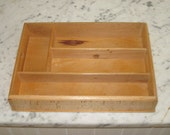 Vintage Divided Wood Utensil Box Cutlery Drawer Dovetailed Corners