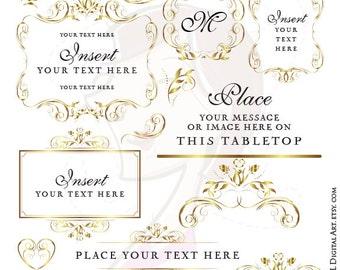 Gold Flourish Frame Wedding Digital Floral Clipart DIY Program Invitation Retro Flower Graphics Jpeg Jpg Png Files Instant Download 10607