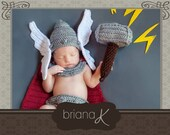 Thor Crochet Newborn Pattern, Norse God of Thunder Instant Download Pattern. Easy to follow newborn baby crochet pattern. Photography Prop.
