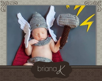 Thor Crochet Newborn Pattern, Norse God of Thunder Instant Download