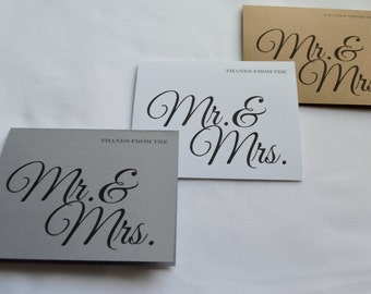 Mr and Mrs thank you card wedding guest thank you cards guests thank you card kraft rustic thank you card set guests thank you mr & mrs card