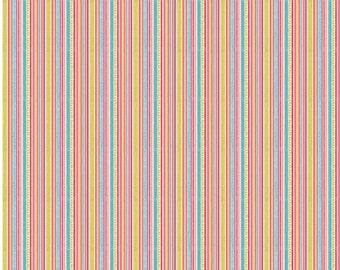 Happy Flappers - 1 Yard Cut - Novelty Fabric - Stripes Pink- Cotton Fabric - Riley Blake Designs - Stripe Fabric