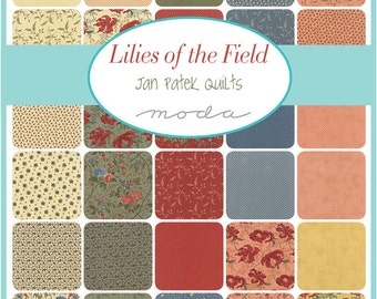 "Moda Sample Spree Sale Lilies of the Field Charm Pack Fabrics 42 - 5"" Fabric Quilt Squares Kit"