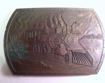 Brass Steam Locomotive Belt Buckle.