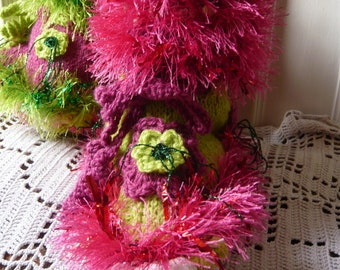Handknitted woman fairy ruffle slippers hippie psychedelic neon colors pink fuchsia lime green grass flowers twisted curls