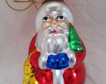 Glass Santa and Snowman Ornaments