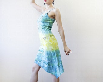Turquoise blue yellow ombre dyed cotton asymmetric hem dress