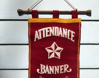 Vintage Felt Church Sunday School Attendance Red White Gold Original Banner on Wooden Dowell Rod