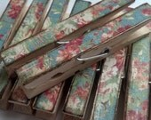 Shabby  decor clothespins set of 10 chic blue floral themed decoupage