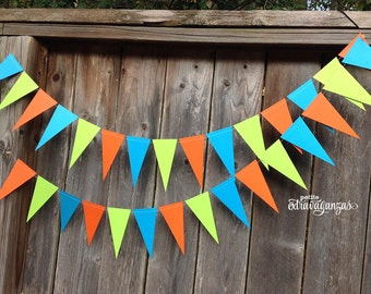 Monsters Pennant Banner/ Triangle Garland- Orange, Turquoise, and Lime Green