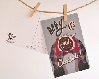 Christmas Postcards / Christmas Postcard Set / Holiday Card Set / Card Sets / Baby It's Cold Outside Postcard Pack