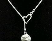 I Love Softball Baseball Silver Heart Charm Pendant Chain Mom Mother Allstar Necklace