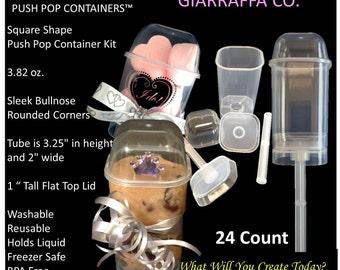 Push Pop Containers Square Shape 24 count 3.28 oz