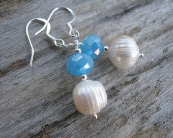 Freshwater Pearl Earrings, Sterling Silver, Aqua Blue, Fire Polished Czech Crystal Earrings, June Birthstone Earrings, READY To SHIP